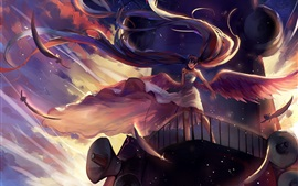 Preview wallpaper Hatsune Miku, long hair anime girl, microphone, wings, angel
