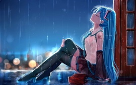 Hatsune Miku, sadness anime girl in rain