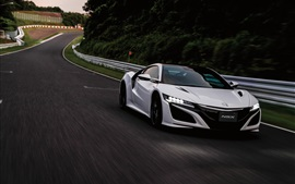 Honda NSX white supercar front view, speed, dusk