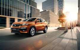 Preview wallpaper Honda XR-V orange SUV car speed at city road