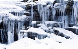 Preview wallpaper Icicles and snow rocks, Sierra Nevada Mountains, California, USA