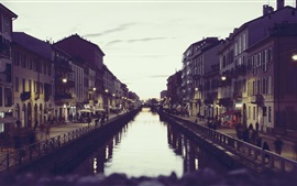 Preview wallpaper Italy Milan, canal, houses, dusk