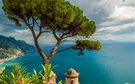Italy, Ravello, blue sea, boat, mountains, trees
