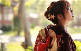 Preview wallpaper Japanese girl back view, kimono