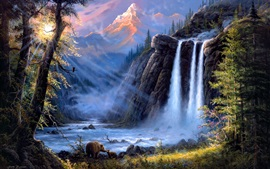 Preview wallpaper Jesse Barnes art painting, landscape, waterfalls, trees, bears