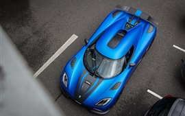 Preview wallpaper Koenigsegg Agera R blue supercar top view