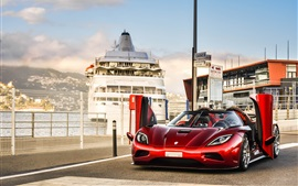 Preview wallpaper Koenigsegg Agera R red supercar, wings, dock
