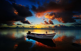 Lake at sunset, boats, evening, clouds