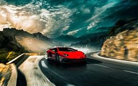Lamborghini Aventador LP750-4 SV красный скорость суперкара