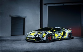 Preview wallpaper Lamborghini Aventador LP750-4 SV supercar, camouflage colors