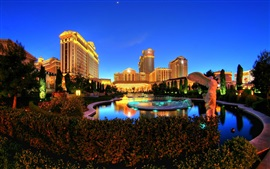 Лас-Вегас, ночь, огни, Caesars Palace, развлекательный комплекс