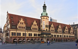 Preview wallpaper Leipzig Altes Rathaus, building, people, street, Germany
