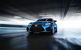 Preview wallpaper Lexus GS F blue car front view and speed