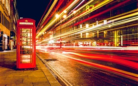 London, England, telephone booth, street, nights, lights