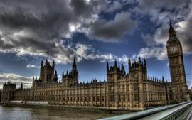 London, UK, Big Ben, Thames river, buildings, clouds, dusk