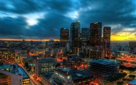 Los Angeles, Califórnia, EUA, arranha-céus, luzes, noite, nuvens, pôr do sol