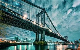 Манхэттен, США, мост, небоскребы, огни, вода, облака
