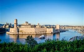 Aperçu fond d'écran Marseille, Fort Saint-Jean, France, forteresse, rivière, bateaux, quai