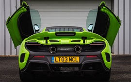 Preview wallpaper McLaren 675LT green supercar rear view