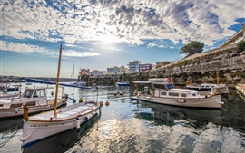 Menorca, boats, dock, houses, sea, clouds, Spain