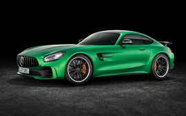 Mercedes-Benz AMG GT3 C190 supercarro verde vista lateral