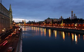 Preview wallpaper Moscow city beautiful evening, buildings, houses, river, lights