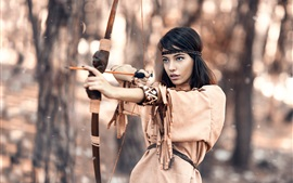 Native hunter, black hair girl, bow