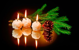 Preview wallpaper New Year, candles, fire, spruce twigs
