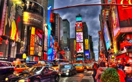 Preview wallpaper New York City, Times Square, night, skyscrapers, shops, lights, cars, people