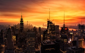 Preview wallpaper New York city at evening, skyscrapers, lights, red sky, America