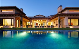 Night, home, house, villa, lights, swimming pool, chairs, sofas