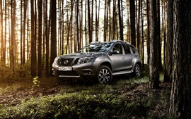 Nissan Terrano gray SUV car in the forest