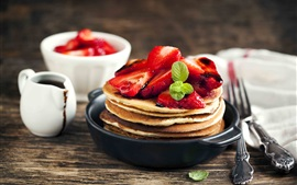Preview wallpaper Pancakes, strawberry, dessert, hot chocolate, delicious food