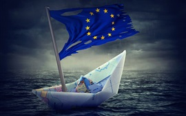 Preview wallpaper Paper boat, Flag of Europe, creative pictures