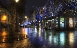 Paris night street, lights, France