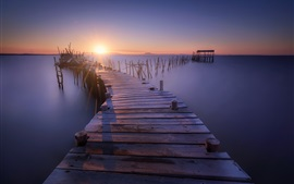 Preview wallpaper Pier, wood bridge, stump, sea, sunset, dusk