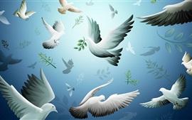 Aperçu fond d'écran Pigeons, oiseaux vol, dessin d'art