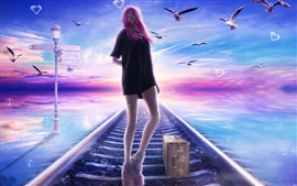Pink haired fantasy girl, railroad, birds, dream