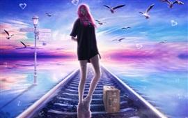 Rosa menina fantasia de cabelos, estrada de ferro, pássaros, sonho