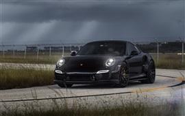 Porsche Carrera 911 черный суперкар в ночное время