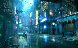 Rainy night city, street, buildings, art design