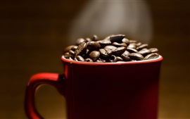 Preview wallpaper Red cup, coffee beans