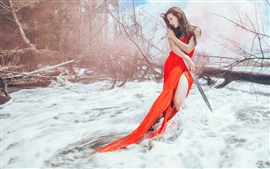 Preview wallpaper Red dress Asian girl and sword in the snow winter