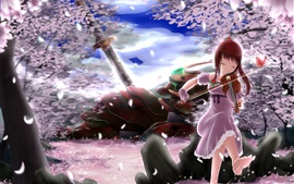 Preview wallpaper Red hair anime girl play violin, sakura petals, trees