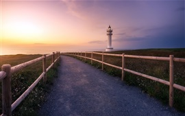 Road, fence, sunset, lighthouse, sea