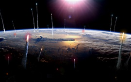Rockets launching, Earth, space