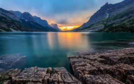 Saint Mary Lake, Glacier National Park, Montana, USA, sunset, mountains