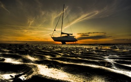 Preview wallpaper Sands, beach, boat, dusk, sunset