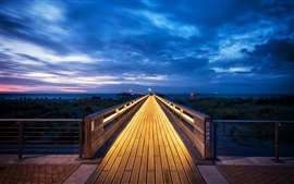 Schleswig-Holstein, Baltic Sea, Germany, wooden path, clouds, blue sky, night