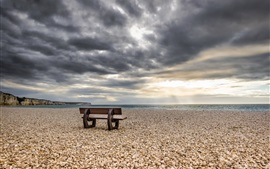 Sea, beach, stones, bench, clouds